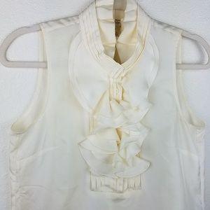 3/$20 J. CREW 100% Silk Ruffled Ivory Tank Blouse